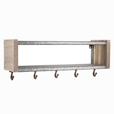 "24.7"" x 9.5"" Decorative Galvanized Metal And Wood Wall Shelf Brown - E2 Concepts"