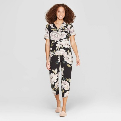 Women's Floral Print Beautifully Soft Crop Notch Collar Pajama Set - Stars Above™ Black