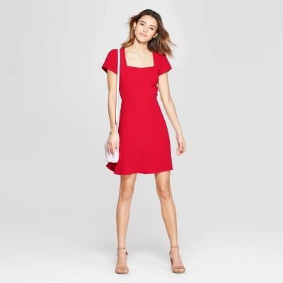 Women's Short Sleeve Square Neck Dress - A New Day™ Red