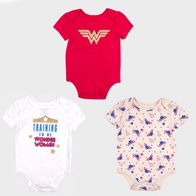 Baby Girls' 3pk DC Comics Wonder Woman Short Sleeve Bodysuit Set - Red/White