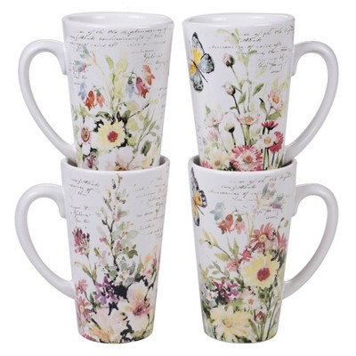 16oz 4pk Earthenware Spring Meadows Assorted Latte Mugs - Certified International