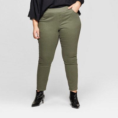 Women's Plus Size Pull On Skinny Chino Pants - Ava & Viv™