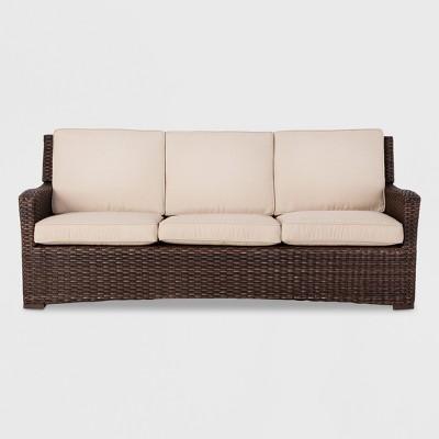 halsted wicker patio sofa tan threshold