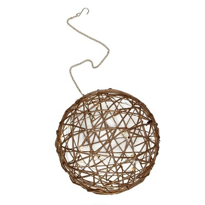 """Northlight 8"""" Warm White LED Lighted Hanging Wire Ball Christmas Ornament - Brown"""