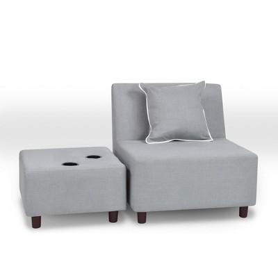 Tween Chair With Ottoman and One Pillow Gray - Kangaroo Trading