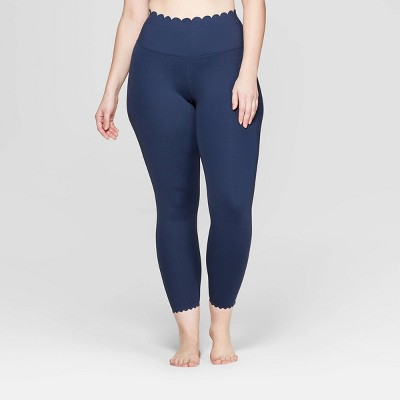 Women's Plus Size Premium High-Waisted 7/8 Scallop Leggings - JoyLab™