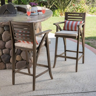 hermosa 2pk acacia wood bar stools gray cream christopher knight home