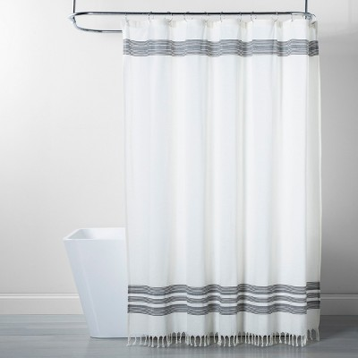 Black Stripe Fringe Shower Curtain White/Gray - Threshold™