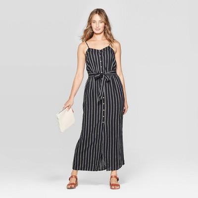 Women's Sleeveless V-Neck Button Front Striped Maxi Dress - Universal Thread™ Black/White