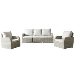 Outdoor Sofas Brisbane Italy Sofa 5pc Resin Wicker And Chair Patio Set With Weather Resistant Fabric Corliving