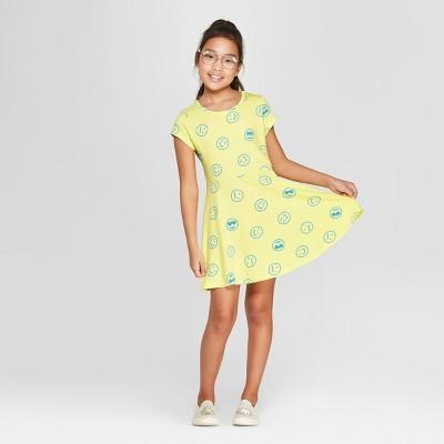 Girls' Short Sleeve Emoji A Line Dress - Cat & Jack™ Yellow
