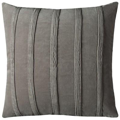 Grey Pin Tuck Stripes Throw Pillow - Rizzy Home