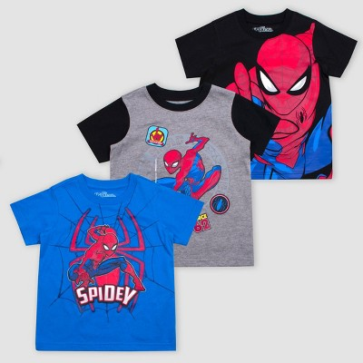 Toddler Boys' Disney Marvel Spider-Man 3pk Short Sleeve T-Shirts - Red/Blue/Black