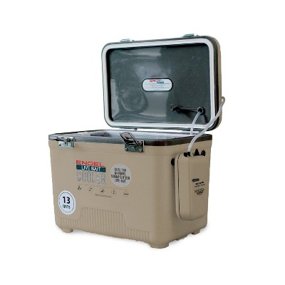 Engel 13 Quart Insulated Live Bait Fishing Dry Box Cooler With Water Pump, Tan