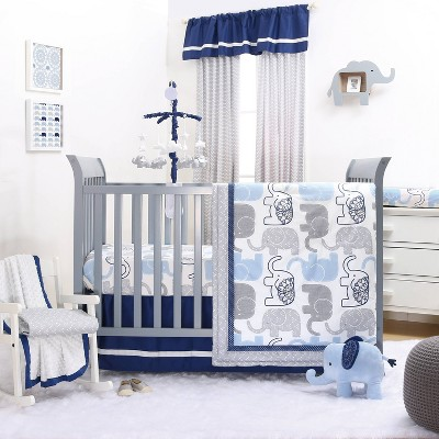 The Peanutshell Little Peanut Navy 4pc Crib Bedding Set
