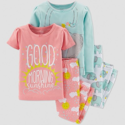 Baby Girls' 4pc Elephant Pajama Set - Just One You® made by carter's Light Blue/Light Orange