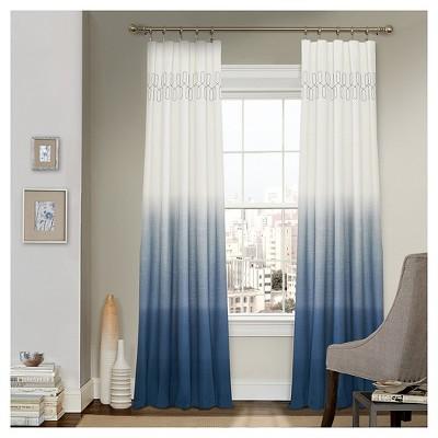 63 x52 arashi ombre embroidery light filtering curtain panel indigo vue