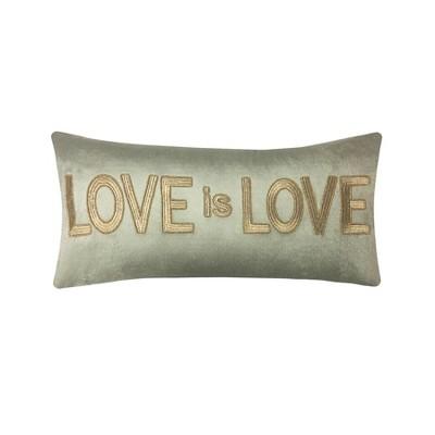 love is love beaded velvet lumbar throw pillow gold edie home