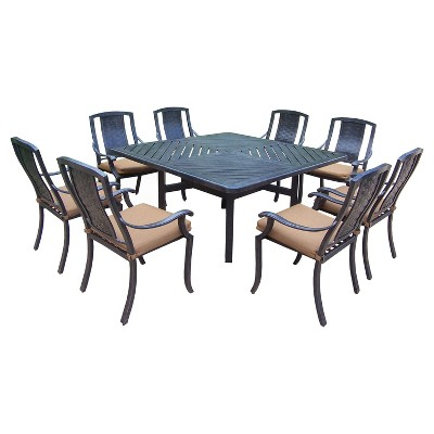 aluminum dining chairs target zara home chair covers vanguard 9 piece stationary square patio furniture set