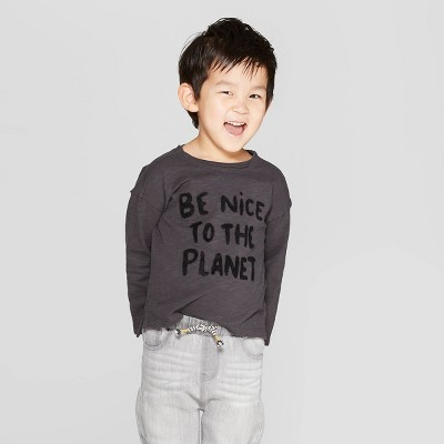 Toddler Boys' Long Sleeve Be Nice To The Planet T-Shirt - art class™ Black