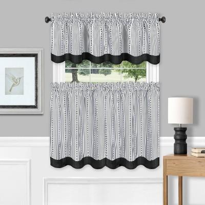 36 x58 westport window curtain tier pair and valance set black white achim