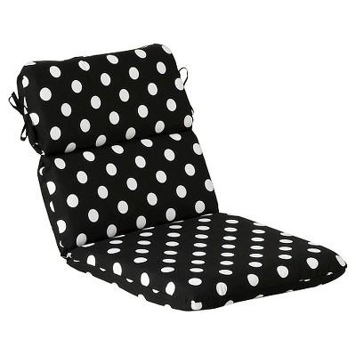 outdoor chair cushion black white polka dot