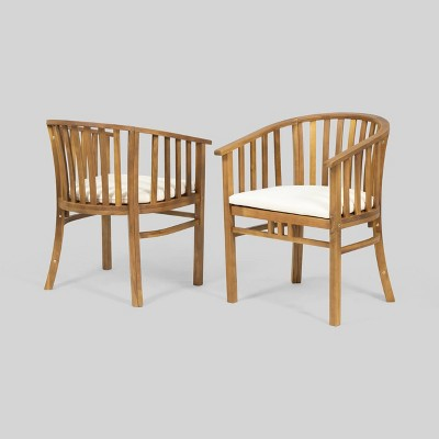 2pk alondra wooden patio dining chairs teak christopher knight home