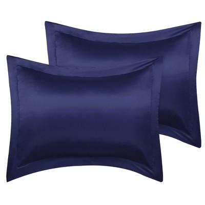 2 pcs boudoir size silk satin pillowcase navy piccocasa