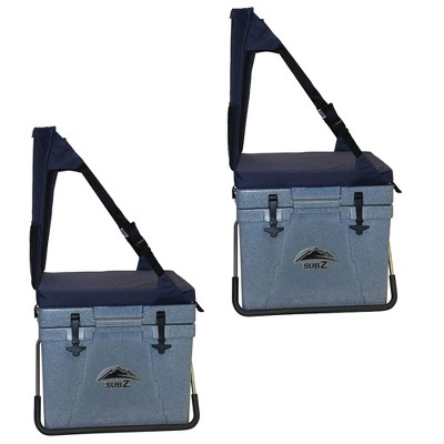 Sub Z Travel 23 Qt Double Wall Insulated Cooler W/ Cushioned Seat, Blue (2 Pack)