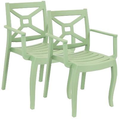 sunnydaze polypropylene stackable tristana outdoor patio arm chair green 2pk