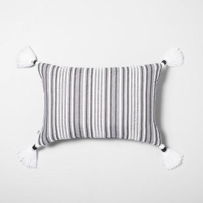 14 x 20 yarn dye stripes throw pillow jet gray black hearth hand with magnolia