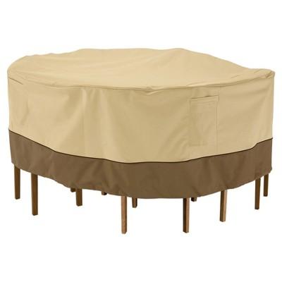 veranda patio round table and chair cover 70 dia x 23 light pebble classic accessories