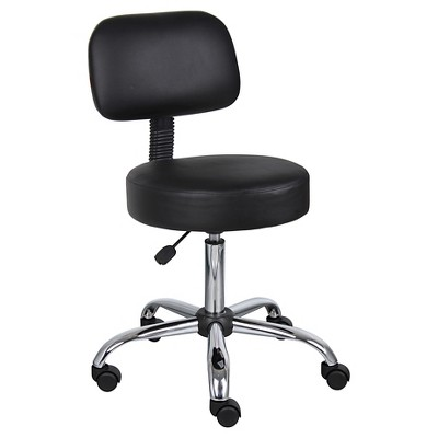 office chair back cushion fabric folding covers caressoft medical stool with black boss products target