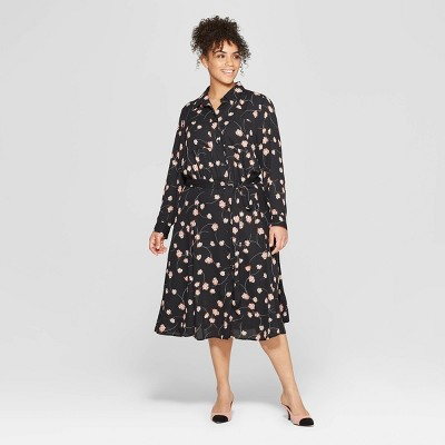 Women's Plus Size Long Convertible Sleeve Button Detailed Shirtdress - Who What Wear™