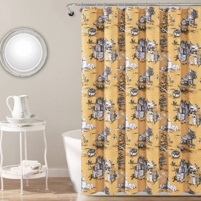 french country toile single shower curtain yellow white lush decor