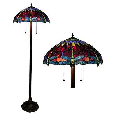Tiffany Style Dragonfly Floor Lamp - Amber (Lamp Only)