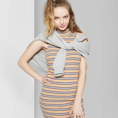 Women's Striped Sleeveless Mock Neck Knit Midi Dress - Wild Fable™ Yellow