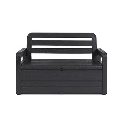 toomax foreverspring uv weather resistant lockable box chest bench for outdoor pool patio furniture and deck storage bin 70 gallon anthracite
