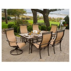 Table With Swivel Chairs Used Ivory Chair Covers For Sale Hanover Outdoor Furniture Monaco 7 Pc Dining Set Umbrella Two 6 More