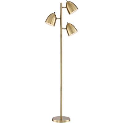 360 lighting mid century modern floor lamp aged brass 3 light tree adjustable dome shades for living room reading bedroom office