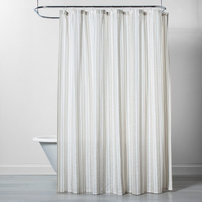 sheer pure white shower curtain stripe