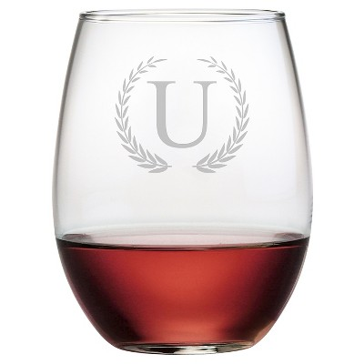 Susquehanna 21oz Glass Wreath Monogram Stemless Wine Glasses - U - Set of 4