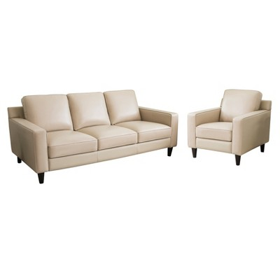 abbyson living belmont leather sofa merriwood by simmons upholstery olivia 2pc top grain and armchair cream target