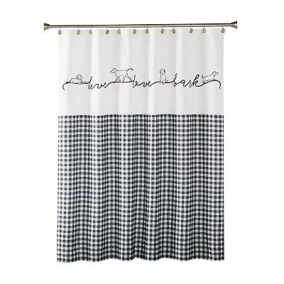 farmhouse dogs fabric shower curtain black skl home