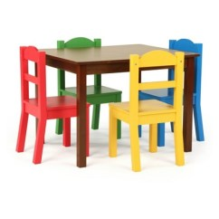 Kids Wooden Table And Chair Set Toyo Revolving Tot Tutors Of 4 Chairs With Discover Wood Dark Walnut Target