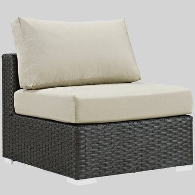 sojourn outdoor patio armless chair with sunbrella fabric beige modway