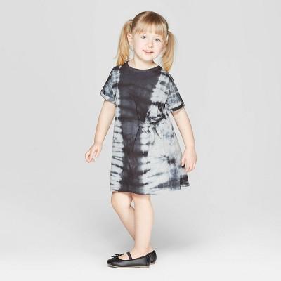 Toddler Girls' Tie Dye Tunic Dress - art class™ Gray/Black