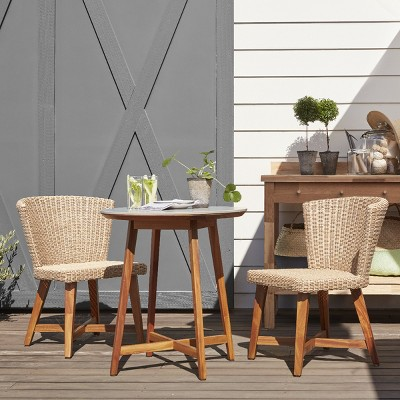 bistro chairs dining room padded folding staton 3pc wood patio set tan smith hawken target