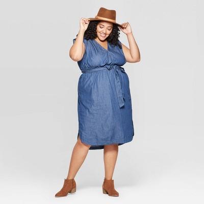 Women's Plus Size Sleeveless Deep V-Neck Belted Denim Dress - Universal Thread™ Indigo