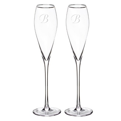 Monogram Silver Rim Champagne Flutes (Set of 2)